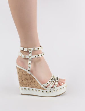 Aroha Wedge Sandals in White PU