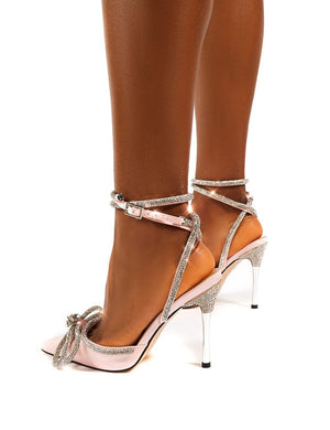 Midnight Pink Wrap Around Diamante Bow High Heel