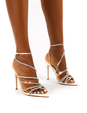 Starstruck White Diamante Strappy Stiletto Heels