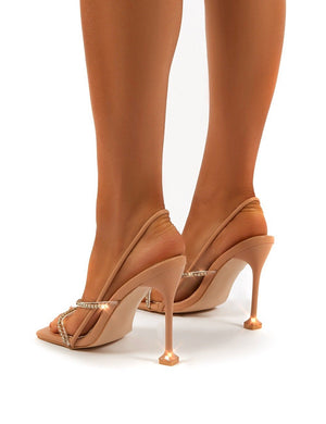 Halo Nude Diamante Detail Square Toe Heels