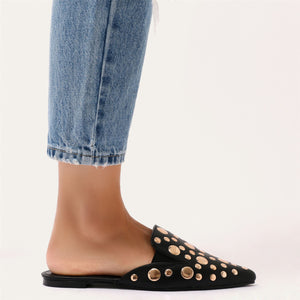Josephine Rose Gold Stud Backless Loafers in Black