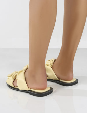 KoKo Yellow Ruched Strappy Flat Sandals