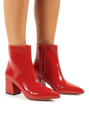 Lia Red Patent Pointed Toe Ankle Boots
