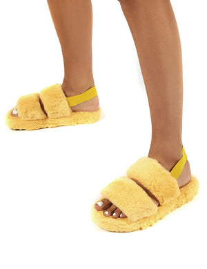 Lullaby Lemon Fluffy Strap Back Slippers