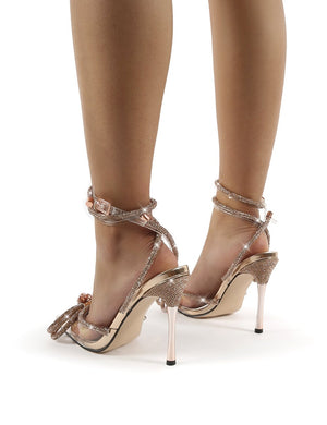 Midnight Rose Gold Wrap Around Diamante Bow High Heels