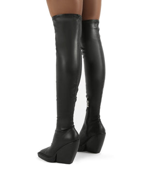Nix Black Square Toe Over the Knee Block Heel Boots
