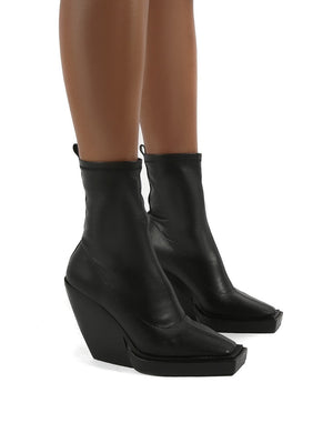 Rae Black Block Heel Square Toe Ankle Boot