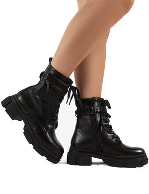 Ramona Black Chunky Lace Up Pouch Detail Ankle Biker Boots
