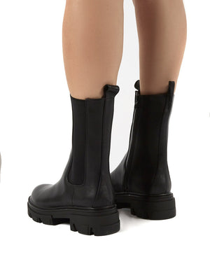 Recess Black PU Chunky Sole Calf High Boots