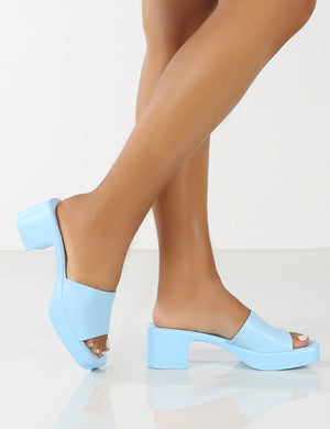 Rejina Blue Block Heeled Strappy Sandals