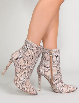 Revive Pointy Ankle Boots in Snake Print