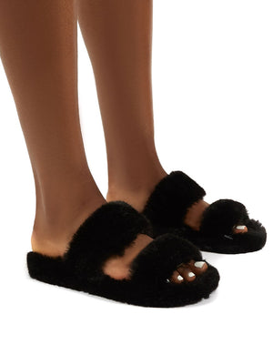 Teddi Black Fluffy Double Strap Slider Faux Fur Slipper
