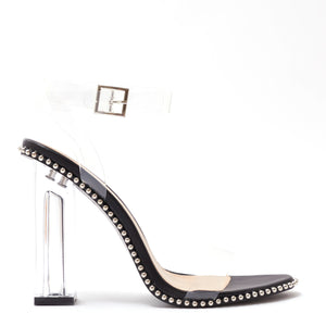 Trick Studded Perspex Heels in Black