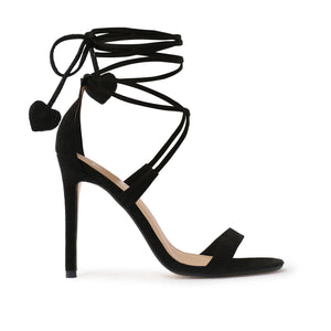 Venus Heart High Heels in Black Faux Suede