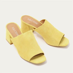 Promise Flared Block Heel Mules in Yellow Faux Suede