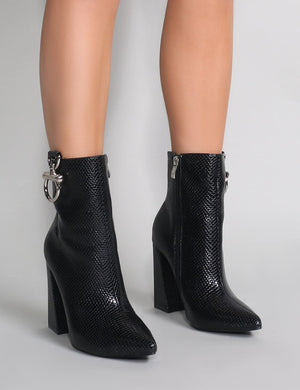 Forever Metal Trim Ankle Boots in Black Mock Croc