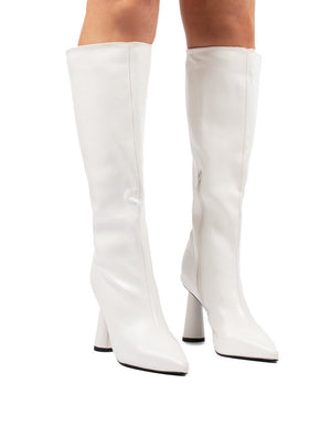 Aislinn White Statement Heel Knee High Boots