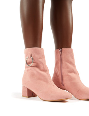 Aruba Low Heel Ring Detail Ankle Boots in Blush Pink Faux Suede