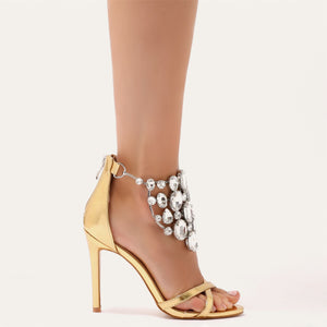 Valentine Cluster Embellished Stilettos in Gold