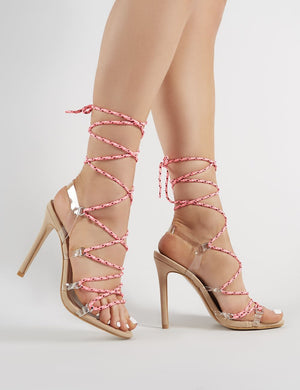 Playa Lace Up Heels in Nude