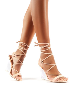 Carnival Nude Faux Suede Lace Up Perspex Wedge Heels