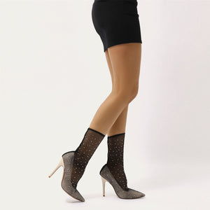 Vogue Diamante Fishnet Pointed Court Stilettos in Nude