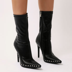 Hustle Studded Sock Boots in Black