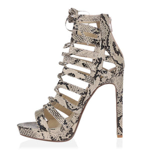 Jayda Lace Up Heels in Beige Snake