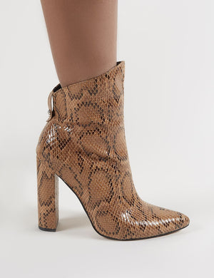 Truth Pointy Ankle Boots in Snake Print