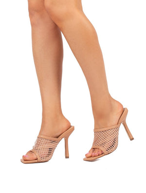 Cyra Nude Fishnet Heeled Mule