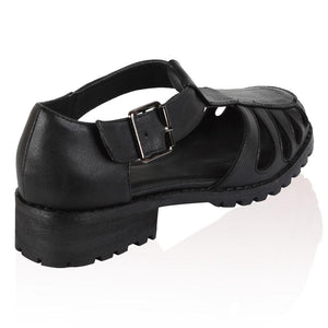 OTT7 Black Faux Leather Retro Cut Out Loafers