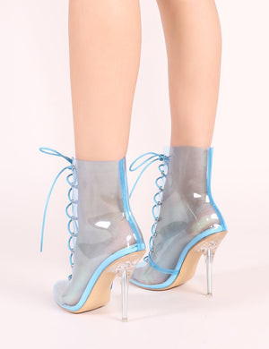 Hawt Perspex Lace Up Ankle Boots in Blue