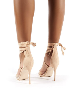 Devote Nude Faux Suede Perspex Lace Up Stiletto Heels