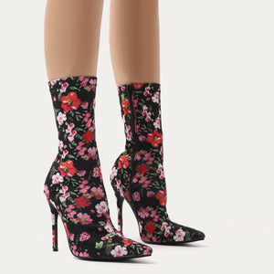 Direct Pointy Sock Boots in Floral Stretch