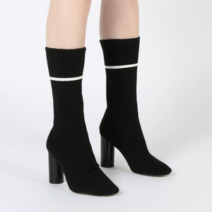 Elliott Sock Fit Stripe Ankle Boots in Black
