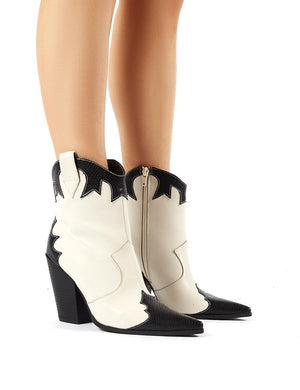 Sting Stone Western Block Heeled Ankle Boots