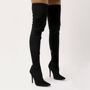 Dazzle Sock Fit Pointed Toe Over The Knee Boots in Black Velvet