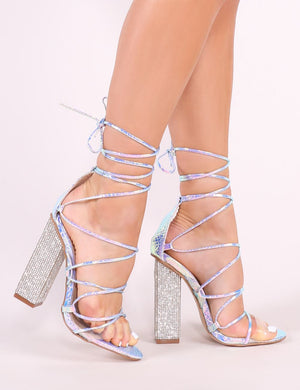 Sparkle Diamante Lace Up Heels in Iridescent