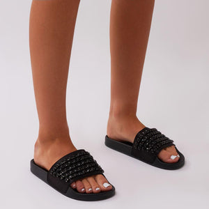 Bounce Black Diamante Sliders in Black