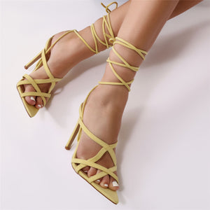 Sessy Pointed Lace Up Heels in Yellow Faux Suede