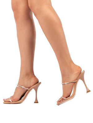 Effortless Nude Barely There Diamante Heels