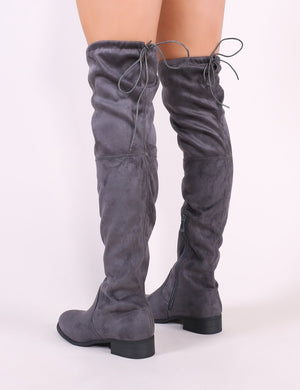 Joy Over the Knee Boots in Grey Faux Suede
