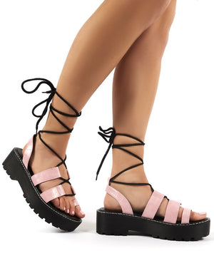Erika Pink Croc Lace Up Chunky Sole Flatform Sandals