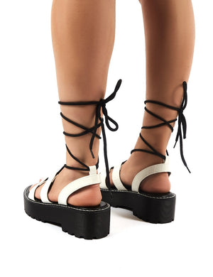 Erika White Croc Lace up Chunky Sole Flatform Gladiator Sandals
