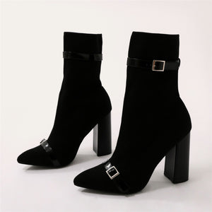 Daniella Buckle Sock Boots in Black