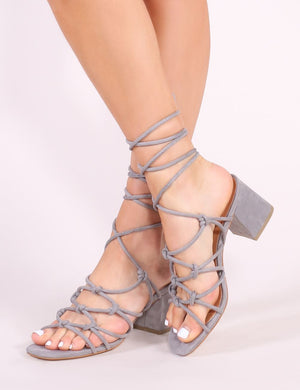 Freya Knotted Strappy Block Heeled Sandals in Grey Faux Suede