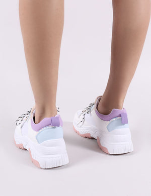 Boe Chunky Trainers in White and Purple