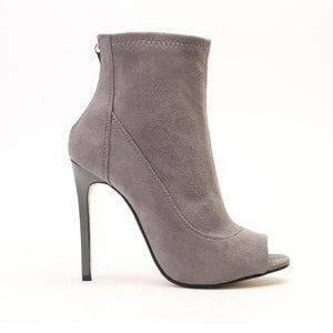Toni Stiletto Heels in Grey Faux Suede