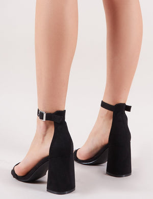 Grier Block Heel Barely Theres in Black Faux Suede