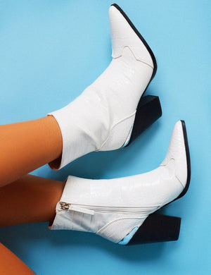 Heidi White Croc Block Heeled Western Ankle Boots
